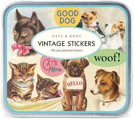 Cavallini - Hoja vintage para gatos y perros con 100 pegatinas surtidas en estaño