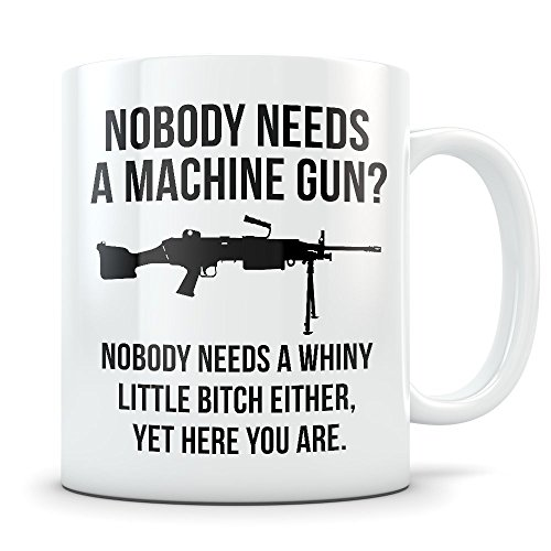 Machine Gun Mug - Funny 2nd Amendment Coffee Cup - Gun Gift for Gun Enthusiasts - Gun Rights Matter I Lubricate My Guns With Liberal Tears (Folding Submachine Gun)