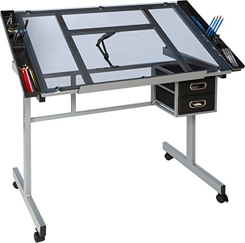 OneSpace 50-CS01 Craft Station, Silver with Blue Glass (Cheap Art Desk)