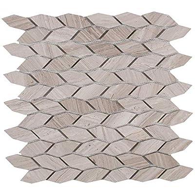 "MAYKKE 12"" x 12"" Navi Mosaic Wall and Floor Tiles (10-Pack) | Leaf Pattern for Bathroom, Kitchen, Laundry Room Backsplash, Flooring, 10 Sq Ft | White Wooden Marble, YOA1070101"