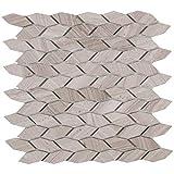 MAYKKE 12'' x 12'' Navi Mosaic Wall and Floor Tiles (10-Pack)   Leaf Pattern for Bathroom, Kitchen, Laundry Room Backsplash, Flooring, 10 Sq Ft   White Wooden Marble, YOA1070101