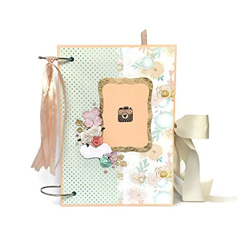 Kristabella Creations Mint and peach Baby girl memory book, size A4 8x11 inches, Metal ring binding, 20 decorated inside pages, Interactive, Month cards, Milestone card, Beautiful baby shower gift by Kristabella Creations