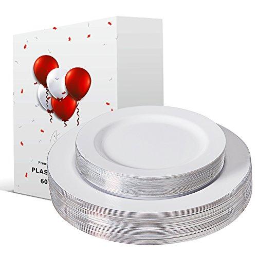 60 Piece Plastic Plates Silver, Wedding Plates Set,Dinner party plates,Premium plastic plates-10.25'' Dinner Plate,7.5'' Salad/dessert Plates -