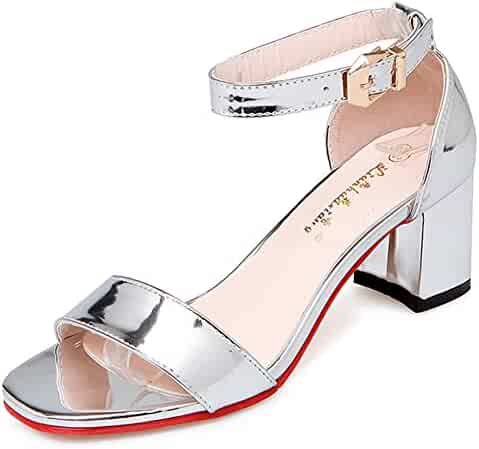 72d866d3f80 IDIFU Women s Classic Mid Block Heels Open Toe Buckle Ankle Strap Sandals