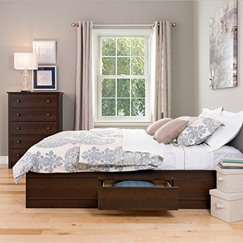 Captain Bed Box - Prepac EBQ-6200-3K Queen Sonoma Platform Storage Bed with 6 Drawers, Espresso