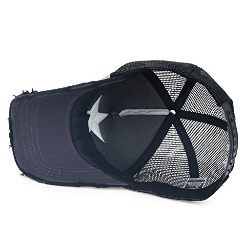 Baseball Navy Cotton Trucker Star Grey Hat Cap White ililily Embroidery Black 01Owq