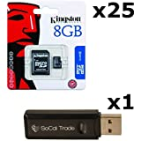 25 PACK - Kingston 8GB MicroSD HC Class 4 TF MicroSDHC TransFlash Memory Card SDC8/8GB 8G 8 GB GIGS (M.A8.RTx25.550) LOT OF 25 with USB SoCal Trade© SCT Dual Slot MicroSD & SD Memory Card Reader - Retail Packaging