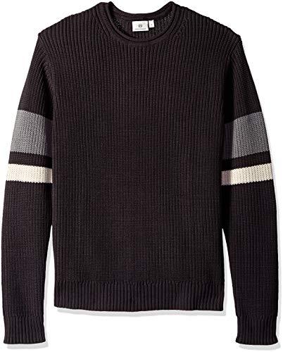 AG Adriano Goldschmied Men's Jett Crew Sweater, Faded Black/Multi Stripe, XX-Large from AG Adriano Goldschmied