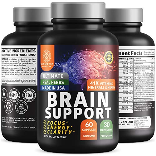 N1N Brain Supplement Nootropics [41X Potent Ingredients] All Natural Brain Booster for Focus, Memory, Clarity & Energy for Men & Women with DMAE, Bacopa Monnieri and Manganese, 60 Veg Caps