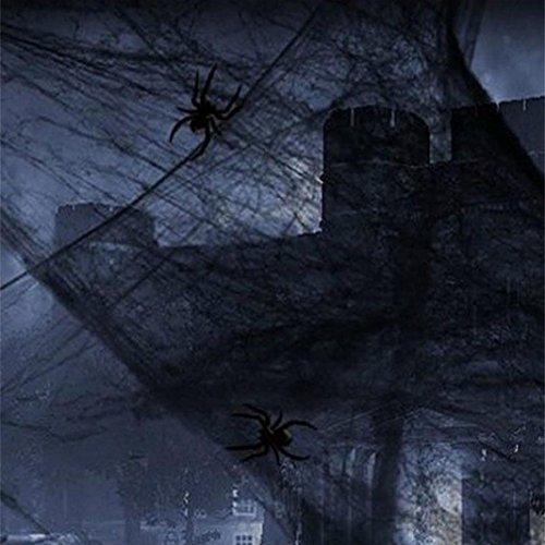 MMUA Halloween Stretchy Spider Web Cobweb Prop for Home Bar Party Festival Decoration (Black)
