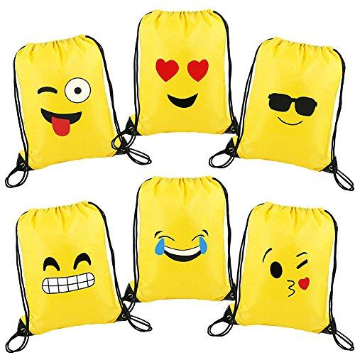 Elecrow 6 Pack Emoticon Emoji Drawstring Backpack Bags for Kids Teens Gift