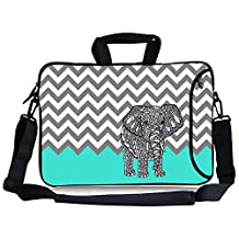"TsuiWah(TM) Turquoise Mint Green Grey Chevron Elephant Neoprene Laptop Sleeve Case Bag Handbag Side Pocket,Soft Carrying Handle Removable Shoulder Strap for 16"" /17""/17.3""Inch Laptop"