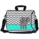 TsuiWah(TM) 13-Inch Turquoise Mint Green Grey Chevron Elephant Neoprene Laptop Sleeve Case Bag Handbag with Extra Side Pocket, Soft Carrying Handle & Removable Shoulder Strap for 12.5 to 13.3 inch Laptop Chromebook Ultrabook Macbook Pro Air HP Dell Acer Sony Lenovo
