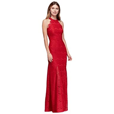 6ad352e0ce David s Bridal Lace Sheath Halter Long Dress with Scallops Style 12316 -  Red -
