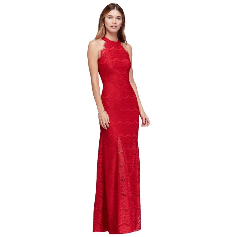 David's Bridal Lace Sheath Halter Long Dress with Scallops Style 12316, Red, 6 by David's Bridal
