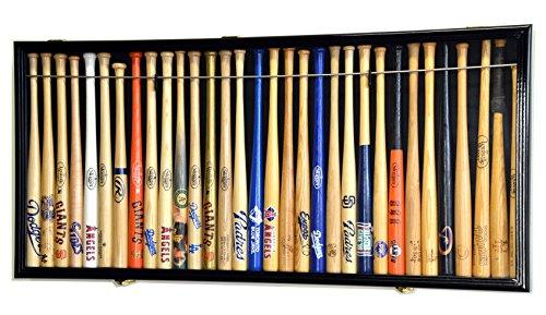 "Mini 18"" Baseball Mini Bat Display Case Cabinet Holder Rack w/98% UV Lockable Holds up to 30 Bats"