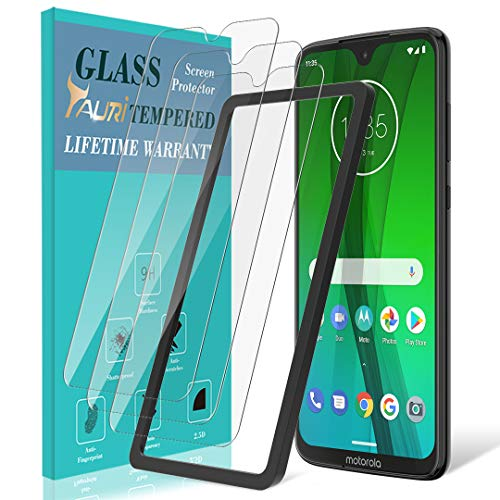 [3-Pack] TAURI Screen Protector for Motorola Moto G7 / G7 Plus, Tempered Glass [Anti-Scratch] [Case Friendly] [Easy Install Alignment Frame] with Lifetime Replacement Warranty