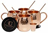 #7: Mule Science Moscow Mule Copper Mugs - Set of 4 - 100% HANDCRAFTED - Pure Solid Copper Mugs 16 oz Gift Set with BONUS: Highest Quality Cocktail Copper Straws, Coasters and Shot Glass!