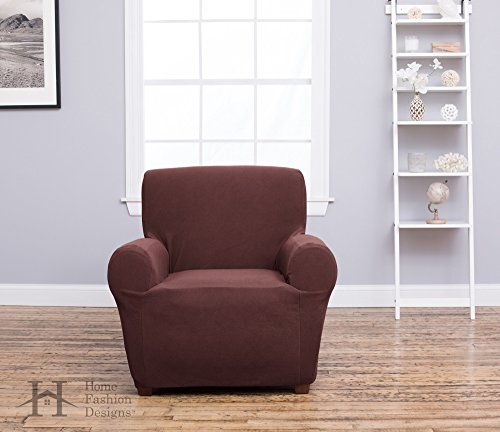 Home Fashion Designs Form Fit, Slip Resistant, Stylish Furniture Shield/Protector Featuring Plush, Heavyweight Fabric. Cambria Collection Deluxe Strapless Slipcover Brand. (Recliner, Chocolate)