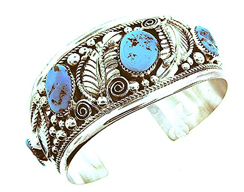 - USA Made by Navajo Artist Ida McCray: Beautiful! Genuine Sterling-silver Turquoise Men's Bracelet