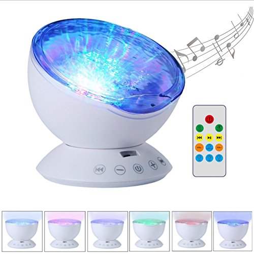 Kingcenton [Newest 3rd Gen] Remote Control Ocean Wave Projector 12 LEDs & Multicolor Changing Modes Night Light Lamp, Built-in Mini Music Player for Baby Kids Adults Living Room, Bedroom or Nursery