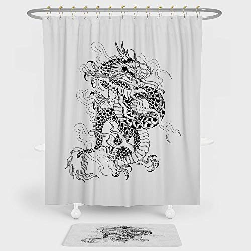 White Colonial Style Combination - iPrint Japanese Dragon Shower Curtain And Floor Mat Combination Set Sketch Artwork Style Ancient Mighty Figure with Claws Fire Monster Tattoo Decorative For decoration and daily use Black White