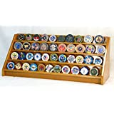 4 Rows Challenge Coin Casino Chip Display Rack Holder Stand -Walnut