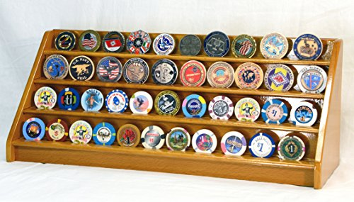 4 Rows Challenge Coin Casino Chip Display Rack Holder Stand (Oak Challenge Coin)