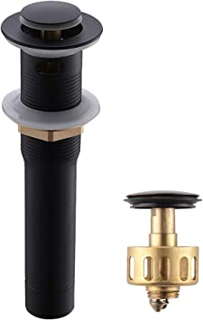PP Plunger BN for bathroom and sink Quick drain 6 inch Black