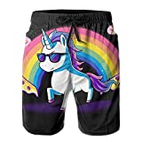 Rainbow Unicorn Pizza Newest Men's Workout&swim Trunks Quick Dry Board Shorts