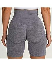 DDL Deportes Yoga Fitness Apretado pantalón Corto Ciclo de la Mujer Ejercicio de Cintura Alta Pantalones Cortos de Deporte,L