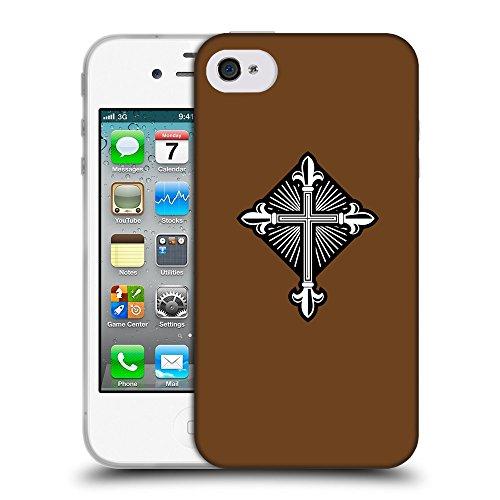 GoGoMobile Coque de Protection TPU Silicone Case pour // Q08010633 Christian Cross 26 Sépia // Apple iPhone 4 4S 4G