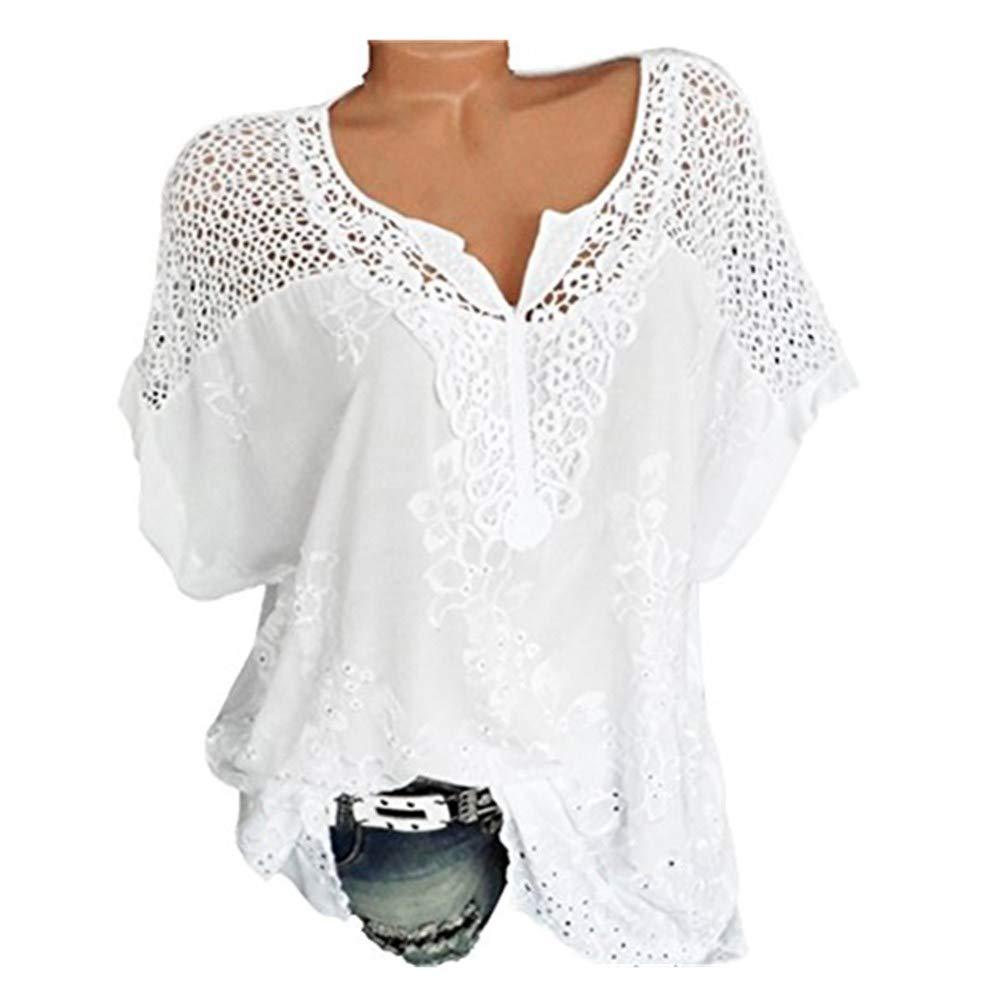 SUCES Summer Fashion Elegante T-Shirt Damen Große Größen V-Ausschnitt Tops Frauen Spitzennähte Floral Bluse Kurzarm T-Shirt Mode Beiläufige Pullover Tees