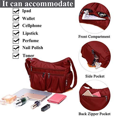 Crossbody Bags for Women, Multi Pocket Shoulder Bag Waterproof Nylon Travel Purses and Handbags (8981_Red) by VOLGANIK ROCK (Image #4)