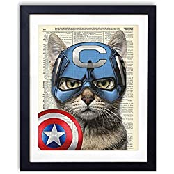 Captain Cat America Super Hero Vintage Upcycled Dictionary Art Print