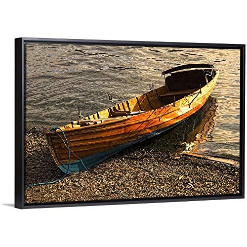 John Short Floating Frame Premium Canvas with Black Frame Wall Art Print Entitled Boat On Shore, Keswick, Cumbria, England 24