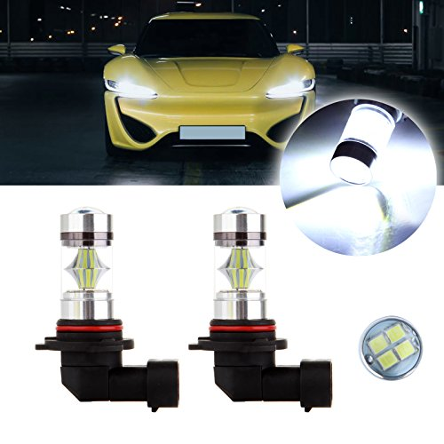 cciyu 2 Pack Xenon White 6000K 60W 9006 HB4 Cree LED 12 SMD Fog Light High Power ()