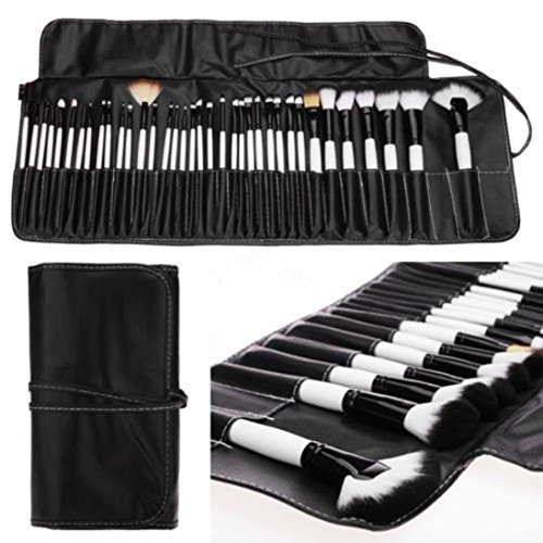 OVERMAL Professional 36PCS Soft Cosmetic Eyebrow Shadow Makeup Brush Set Kit + Pouch Bag