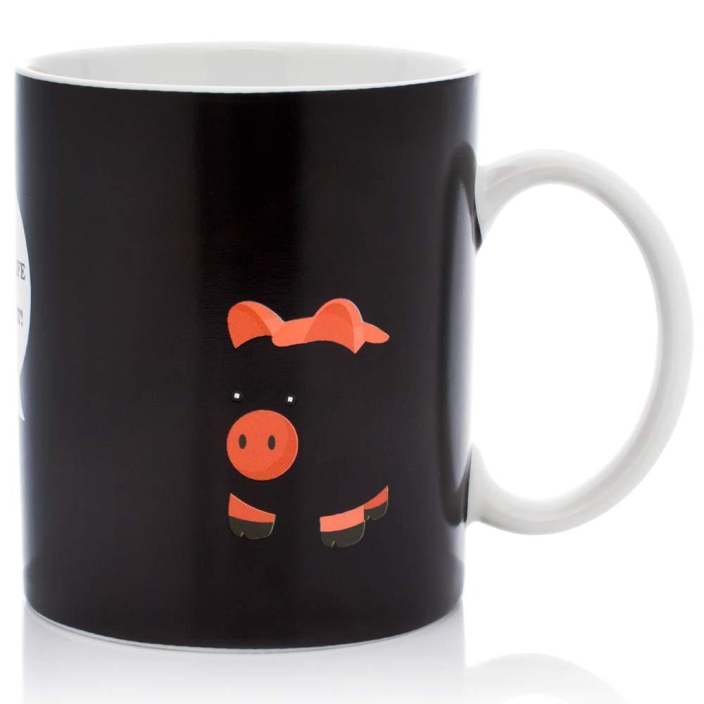 InGwest Home - New Year Pig Coffee Mug. Pig on the Beach Mug! Changing Color Mug. Heat Sensitive Mug.