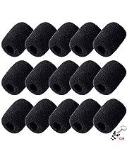 Protector de micrófono de espuma, 15 unidades, color negro