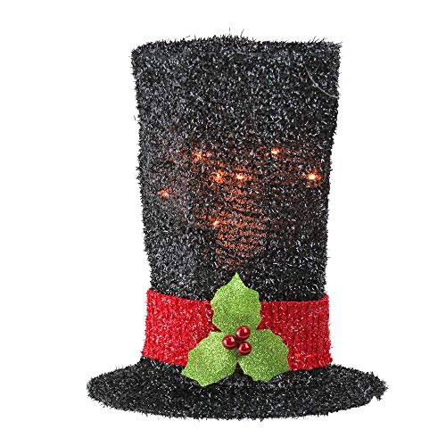 - Northlight Lighted Black Tinsel Snowman Top Hat Christmas Tree Topper with Clear Lights, 9