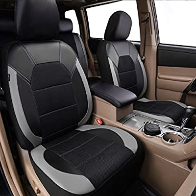 CAR PASS Leather and Mesh Universal Fit Two Front Car Seat Cover, Airbag Compatible,Reserved Opening Holes for Headrest Covers, for suvs,Vans,sedans,Cars(6PC, Black and Gray): Automotive