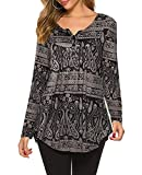 Halife Womens Long Sleeve Henley Floral Tunic Tops
