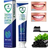 #4: Charcoal Teeth Whitening Toothpaste, Tansmile Natural Activated Charcoal Toothpaste Mint Fluoride Free Toothpaste Bad Breath and Teeth Stains Remover Toothpaste (Pack of 1)