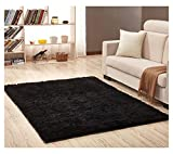 Ultra Soft Bedroom Carpet,Decorative Sitting Room Shaggy Area Rug, Fluffy Kids Playing Pad with Anti-Slip Bottom,Water Absorbent & Quick Dry Area Rug (Black,31'' x 62'')