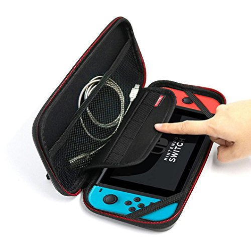 Nintendo Usb Pda (E-SCENERY Portable Microfibre Waterproof Case For Nintendo Switch, Hard Shell Travel Carrying Protector Storage Bag for Nintendo Switch)