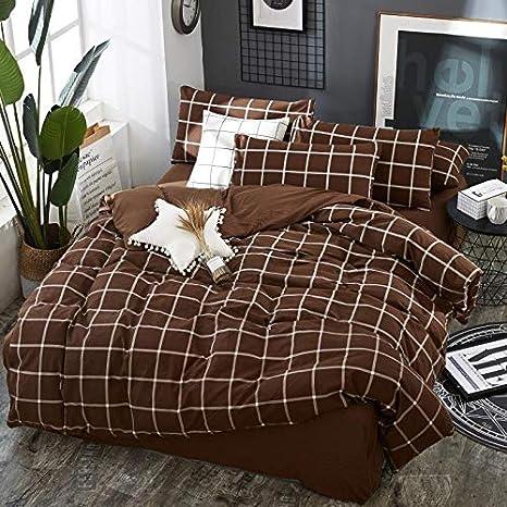 AnnBlue Textiles para el hogar Moda Sencilla y cómoda Muji Transpirable Algodón Lavado Sábana Cubierta Funda de Almohada Ropa de Cama, Reina: Amazon.es: Hogar