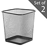Zuvo Square Mesh Wastebasket Metal Wire Garbage Trash Can for Office Home Bedroom Height 10.1' Width 10', 4 Gallon (16 Quart) (2, Black)