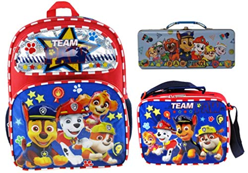 Paw Patrol 14 inch Backpack Back To School Set | Backpack, Lunch Box Bag, and Tin Pencil Case |