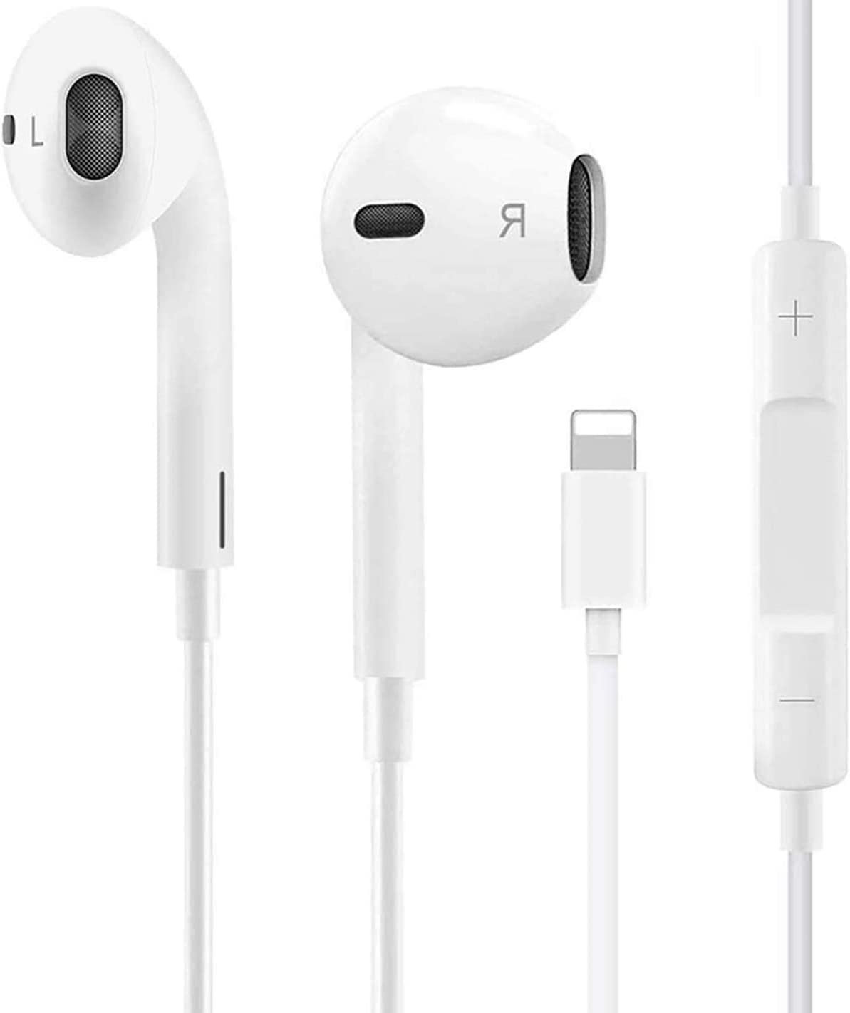 Earbuds Headphone Wired Earphones Headset with Microphone and Volume Control, Compatible with iPhone Xs/XR/XS Max/iPhone 7/7 Plus iPhone 8/8Plus /iPhone X Earphones (White)